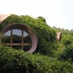 maison bulle d'Antonio Beninca intégrée dans le paysage à Saint Germain Laval dans la Loire