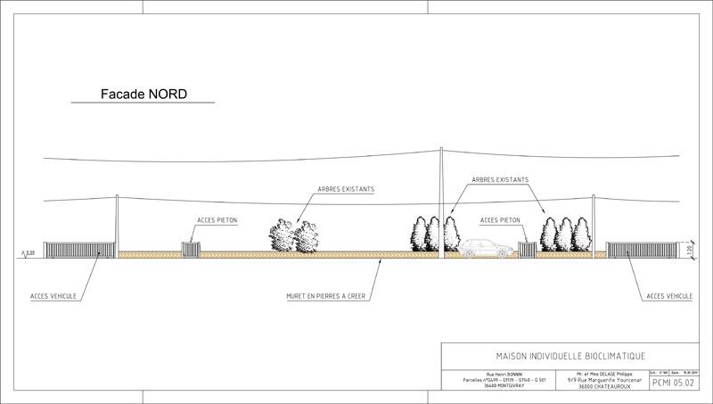 plan maison bulle bioclimatique à Montgivray, façade nord