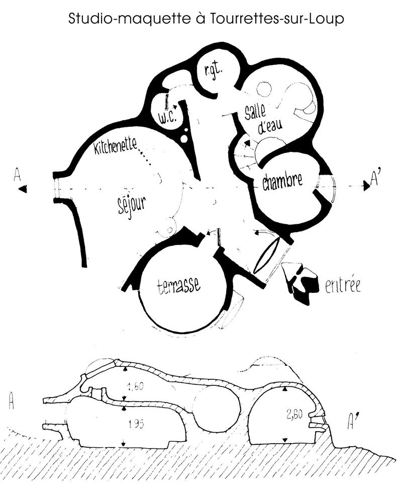 plan bulle-maquette Antti Lovag, 50 m2 d'ingéniosité