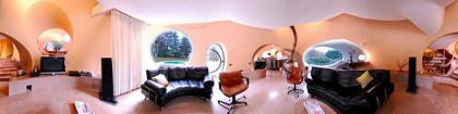 intérieur maison bulle Antti Lovag à Fontaines-sur-Saône