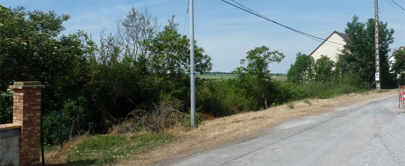 vue du terrain depuis le nord ouest vers le sud ouest