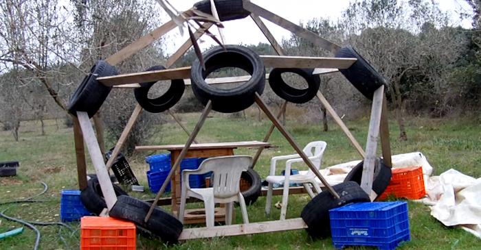 dome géodésique pneus