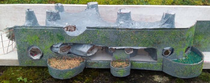 maquette maison enterrée, simulation mur végétalisé