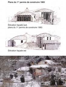 plans en coupe de la maison bulle de Fleurey-sur-Ouche