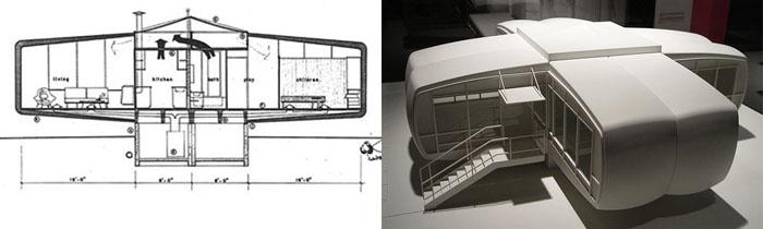 plan et maquette maison Monsanto