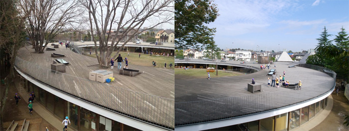 le toit de l'école maternelle