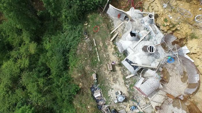 vue aérienne chantier maison bulle juillet 2015