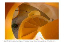 escalier maison bulle Claude et Joël Unal en Ardèche