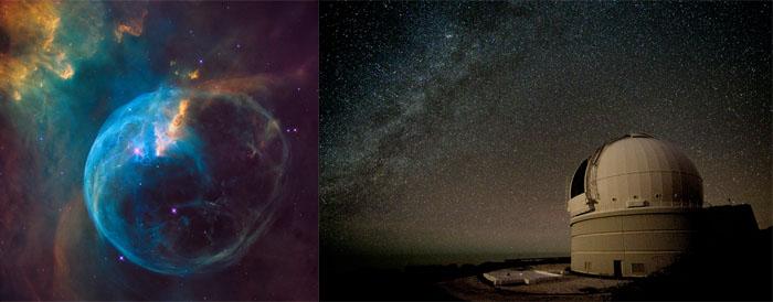 nébuleuse de la bulle vue du télescope WHT de Ténérife