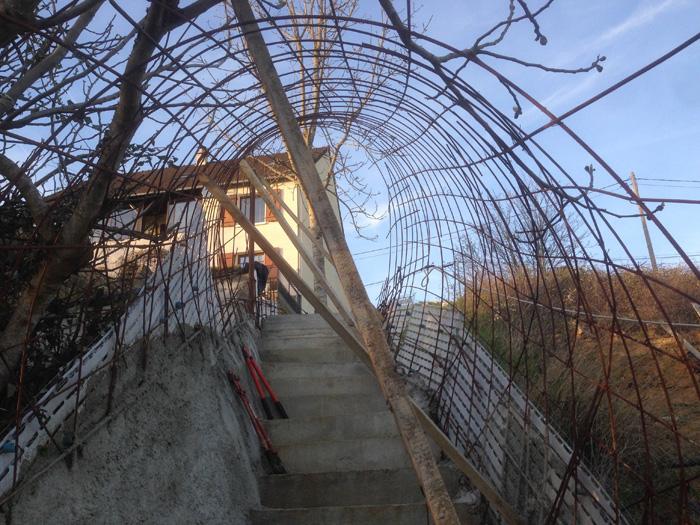 escalier extérieur chantier