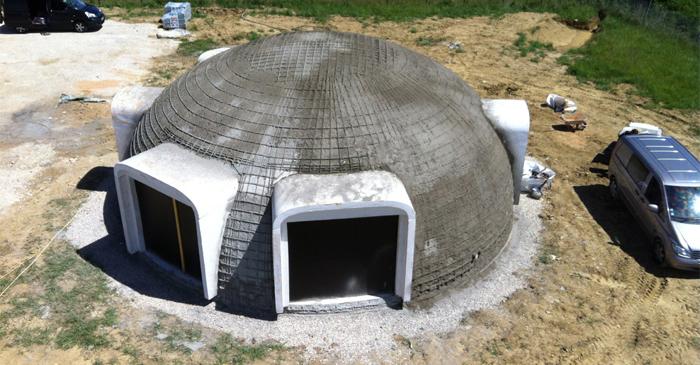 béton projeté sur dome